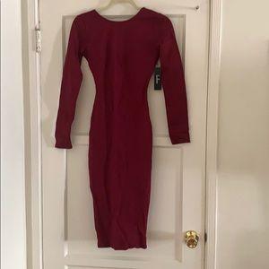 Lulus maroon long sleeve low back dress